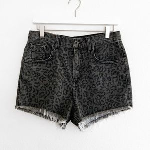 Vans Cheetah High Waist Denim Cut Off Shorts